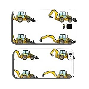 Backhoe loaders. Heavy construction machines. Vector cell phone cover case Samsung S6