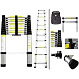 Todeco - Telescopic ladder, Foldable Ladder - Maximum load: 330 lbs - Standard/Certification: EN131 - 10.5 feet, FREE Carry bag, EN 131