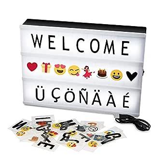 Caja de Luz Solotree A4 LED Lightbox 159 Letras, Emojis Cartel Luminoso Cinematográfico Ideal para Decoración Vintage en Habitación, Bodas, Cumpleaños ...