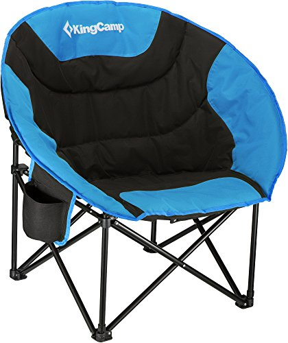 KingCamp Cozy Egg Shape Chaise Lounge Portable Stable Folding Fishing Patio Parties Camping Beach Picnic Chair(Blue)