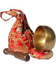 Juego de cuencos tibetanos de Andos hechos a mano en Nepal/meditación de sonido, juego útil para yoga, meditación, oración Zen Chakra, terapia de relajación, atención plena, accesorios de yoga, regalo incluido