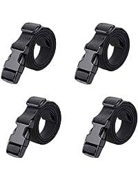 """78"""" x 1"""" Strap Buckle Packing Straps Adjustable 1-Inch Belt (Black (4-PCS))"""