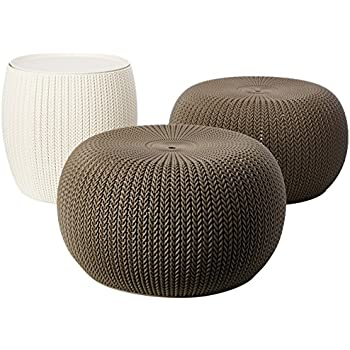 Charmant Keter 3 Piece Compact Indoor/Outdoor Table U0026 2 Seating Poufs Cozy Urban  Knit Furniture Set
