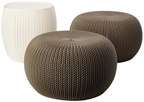 Keter Urban Knit Pouf Ottoman Set of 2 with Accent Table for Patio Decor, Harvest Brown/Cream from Keter