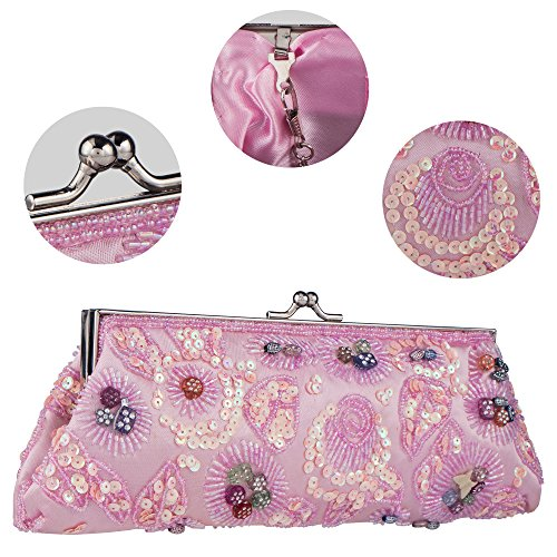 Purse Pink Evening Sequined And Womens Bag Bride Wedding Handbag Beaded Embroidered Clutch Party Bagood qa7pO