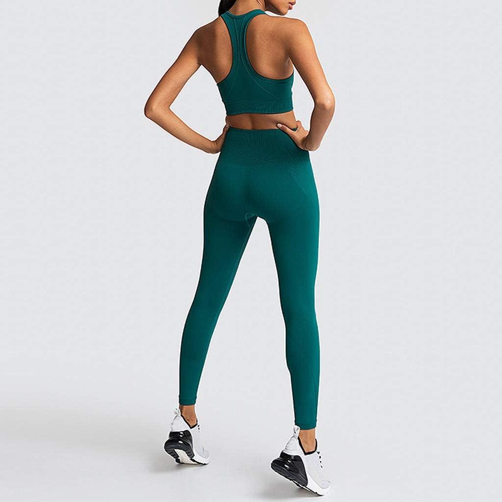 NUSGEAR Tuta da Sportiva Donna Set Leggings e Top Sportivi per Palestra Yoga Joggings e Sport Abbigliamento Completo Sportivo Leggins Vita Alta e Top Crop Sostegno e Comfort
