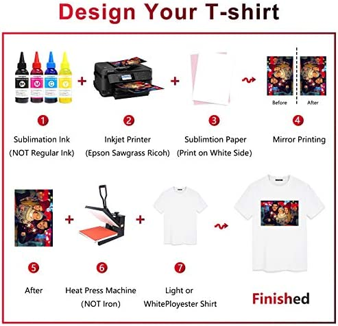 Sublimation Paper 100 Sheets 8.5 x 11 Inches, for Any Inkjet Printer with Sublimation Ink Epson, HP, Canon Sawgrass, Heat Transfer Sublimation for Mugs T-shirts Light Fabric