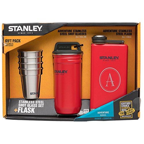 Stanley Adventure Steel Shots + Flask Gift Set with free initial engraving (Red) (Stanley Stainless Steel Shots Flask Gift Set)