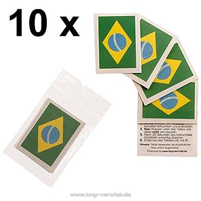 10 x Brésil Fan Tatouages - drapeau du Brésil - tatouages temporaires WM 2018 (10)