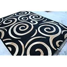 00237 Black Beige Ivory Swirly 4x5 (3'9x4'9) Area Rug Oriental Carpet Large New