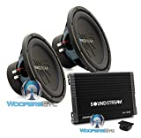 pkg Soundstream AR1.2500D Monoblock 2500W Class D Amplifier + (2) Soundstream RUB.124 12
