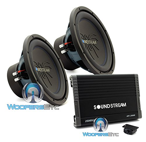 "pkg Soundstream AR1.2500D Monoblock 2500W Class D Amplifier + (2) Soundstream RUB.124 12"" 500W RMS Dual 4-Ohm Rubicon Series Subwoofers"