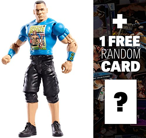 WWE John Cena w/ Fan Sign Basic Figure KM Exclusive Series + 1 Free Official Trading Card Bundle (Wwe Card Sign By John Cena)