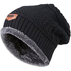 MIEDEON Men's Winter Knitting Skull Cap Wool Warm Slouchy Beanie Hat,Black,One Size