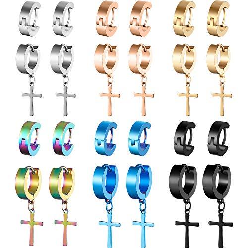 meekoo 12 Pairs Stainless Steel Cross Earrings Cross Dangle Hoop Earrings Hinged Hoop Ear Jewelry for Men and Women Wearing (Stainless Cross Earrings Steel)