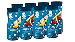 Nourish your little one with whole grain goodness by serving Gerber Puffs Cereal Snack at snack time. Gerber Puffs Cereal Snack have 2 grams of whole grains per serving, and 5 vitamins and minerals making them an ideal snack for your older ba...