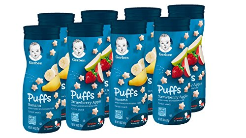 Gerber Puffs Cereal Snack, Banana & Strawberry Apple, 8 Count (Best Food For 9 Month Old Baby)