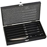Steak House Knife Set, 6 Stainless Steel Serrated Steak Knives by A Cut Above Cutlery - Hand-Carved Wood Handles, Wooden Gift Box