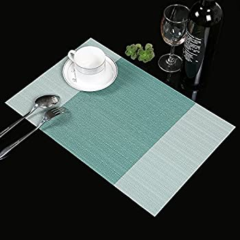 Captivating Placemats,Famibay Heat Insulation PVC Placemat Stain Resistant Crossweave  Woven Table Mats For Kitchen