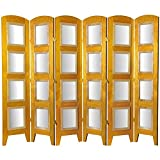 Oriental Furniture Great Group Corporate Gift, 5' 7-Inch Photo Folding Screen Room Divider with 8 by 10-Inch Frames, 6 Panel Honey