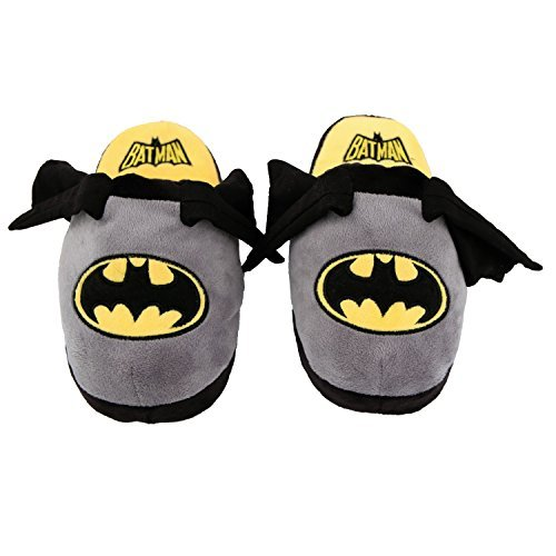 Stompeez Animated Batman Plush Slippers - Ultra Soft and Fuzzy - Wings Flap as You Walk - Small Grey]()
