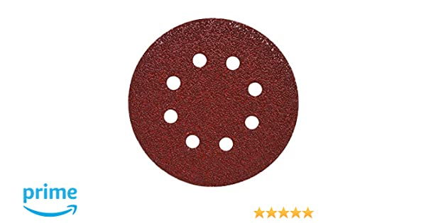 Mercer Industries 5788180 Hook /& Loop Red Heavyweight Disc 50 Pack 5 x 8 Dust Holes Aluminum Oxide Grit 180E 5 x 8 Dust Holes