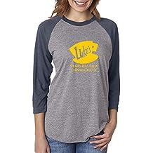 Custom Apparel R Us Luke's Diner Stars Hollow CT Gilmore Girls Womens 3/4 Raglan Sleeve T-Shirt Top