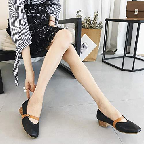 Lger Appartements Travail Mary Pour Avec Fermeture Confort Plates Femmes Janes Vritable clair En De Chaussures Noir Cuir Dcontractes xwwqUgYa
