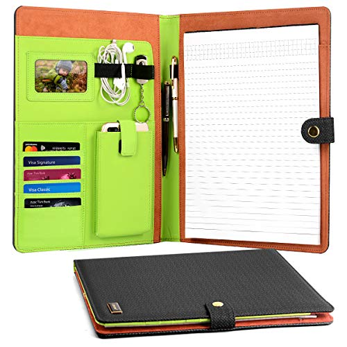 CORNMI Travel Portfolios, Padfolio Portfolio Case with 5 Card Slots & Phone/iPad Pockets+ transparent frame -4 Ring Presentation Office Organizer, Professional Documents Binder Case