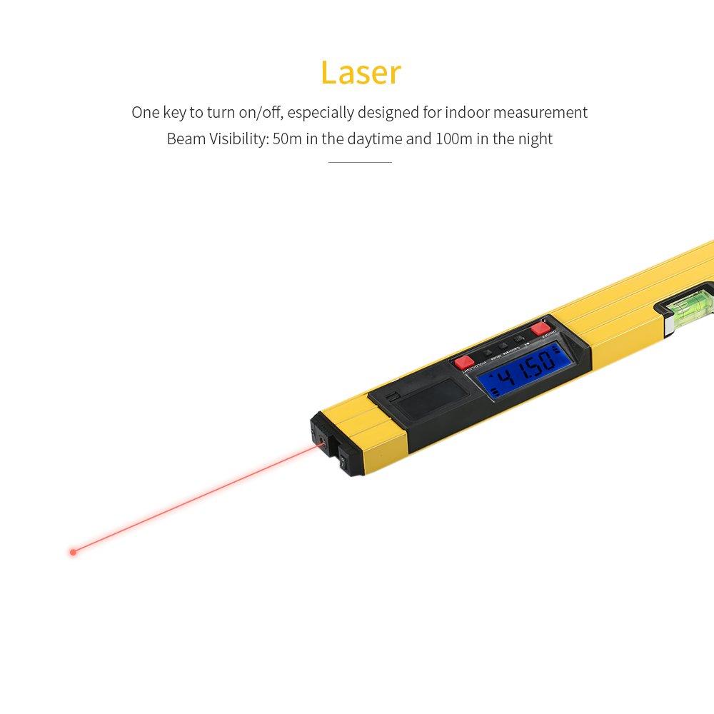 KKmoon 400mm// 600mm Num/érique Laser Mesure I-Beam Niveau /à Bulle Niveau Angle Jauge Niveau Torpedo Avec Base Magn/étique R/étro/éclairage LCD Affichage