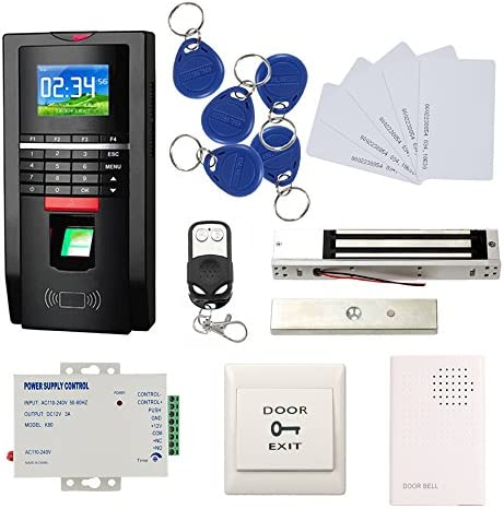 Bio Fingerprint Reader and RFID Card Door Access Control System Time Attendance Kits 600 LBS Force Magnetic Lock 110V Power Unit