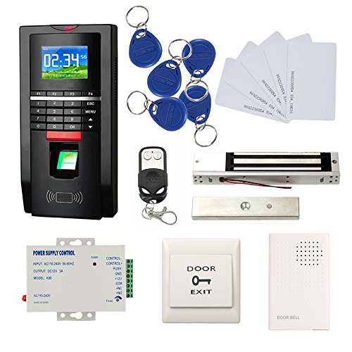 Bio Fingerprint Reader and RFID Card Door Access Control System & Time Attendance Kits 600 LBS Force Magnetic Lock 110V Power Unit (Access Control Card Reader)