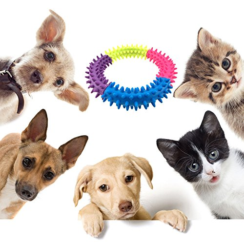 Small-Pet-Dog-Chew-Toy-for-Tooth-Cleaning-and-Training-Interactive-Playing-47-Inch-Soft-Natural-Rubber-Ring-Doggie-Toys-by-Aduck-Random-Color