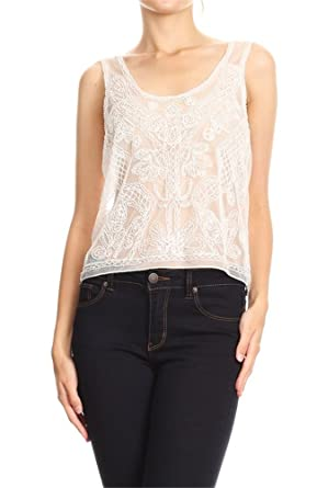a2eabd3e98d6 Anna-Kaci Womens White Sheer Hand-Beaded Embroidered Lace Sleeveless Cami  Top