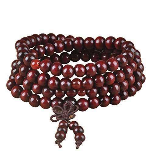 Yaoyijun Wood Necklace Chain Bracelets 108 wood Beads Bracelet (6mm red Sandalwood bowknot)