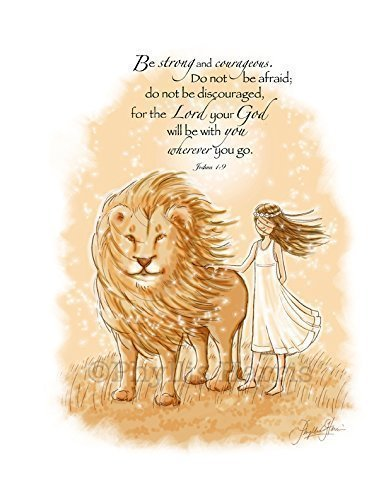 Amazon.com: Be Strong and Courageous Wall Art for Girls - Aslan ...