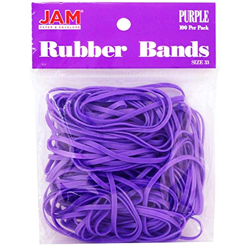 (JAM PAPER Colorful Rubber Bands - Size 33 - Purple Rubberbands - 100/Pack)
