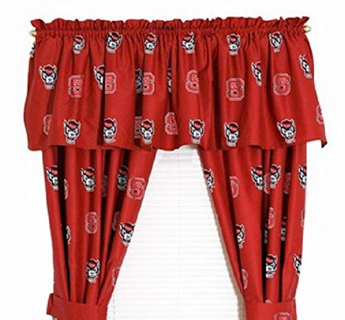 NC State Wolfpack - (1) Printed Curtain Valance/Drape Set (Drape Length 63 Inches) to Decorate One Window - NCAA College Licensed Window Treatment