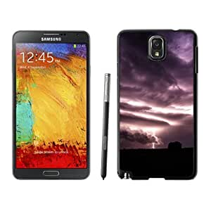 Fashionable Custom Designed Samsung Galaxy Note 3 N900A N900V N900P N900T Phone Case With Purple Clouds Lightning Over Field_Black Phone Case