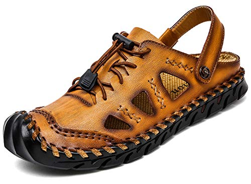Honeystore Mens Leather Creek Water Shoes Plus Size Hollow Beach Rafting Sandals Hiking Casual Light Brown 11 D(M) US Men