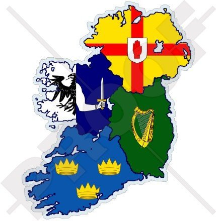 "IRELAND Irish 4 Provinces Map-Flag EIRE 5"" (128mm) Vinyl Bumper Sticker, Decal"