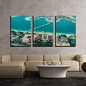 """wall26 - 3 Piece Canvas Wall Art - Eagle Eye View of City,Dubai - Modern Home Decor Stretched and Framed Ready to Hang - 24""""x36""""x3 Panels"""