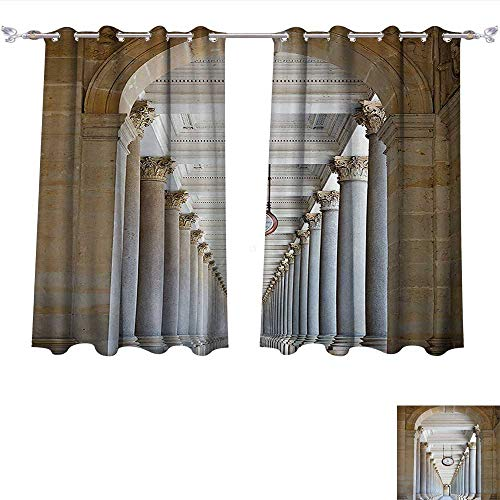 - Qinqin-Home Thermal Insulating Blackout Curtain Classical Colonnade in Karlovy Vary Czech Republic Ancient Civilization Monument Print Beige Patterned Drape for Glass Door (W63 x L63 -Inch 2 Panels)