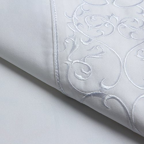 Belmont Square 400 Thread Count Andre Embroidered Cotton Sateen Sheet Set  Full  White