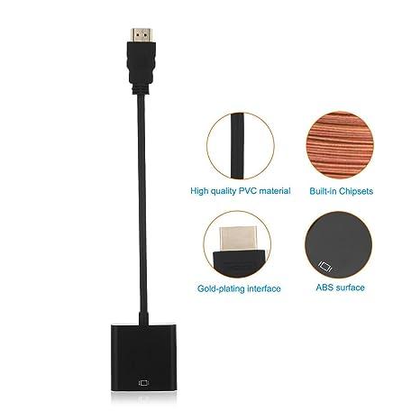 Nuevo HDMI a VGA adaptador para ordenador HDMI macho a VGA hembra Cable de vídeo adaptador convertidor Cable 1080P para PC: Amazon.es: Electrónica
