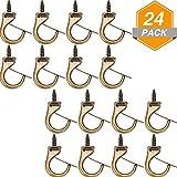 Jetec Metal Cup Hooks Dropped Ceiling Hooks Suspended Ceiling Hooks Screw Loop Hooks (24 Pieces)