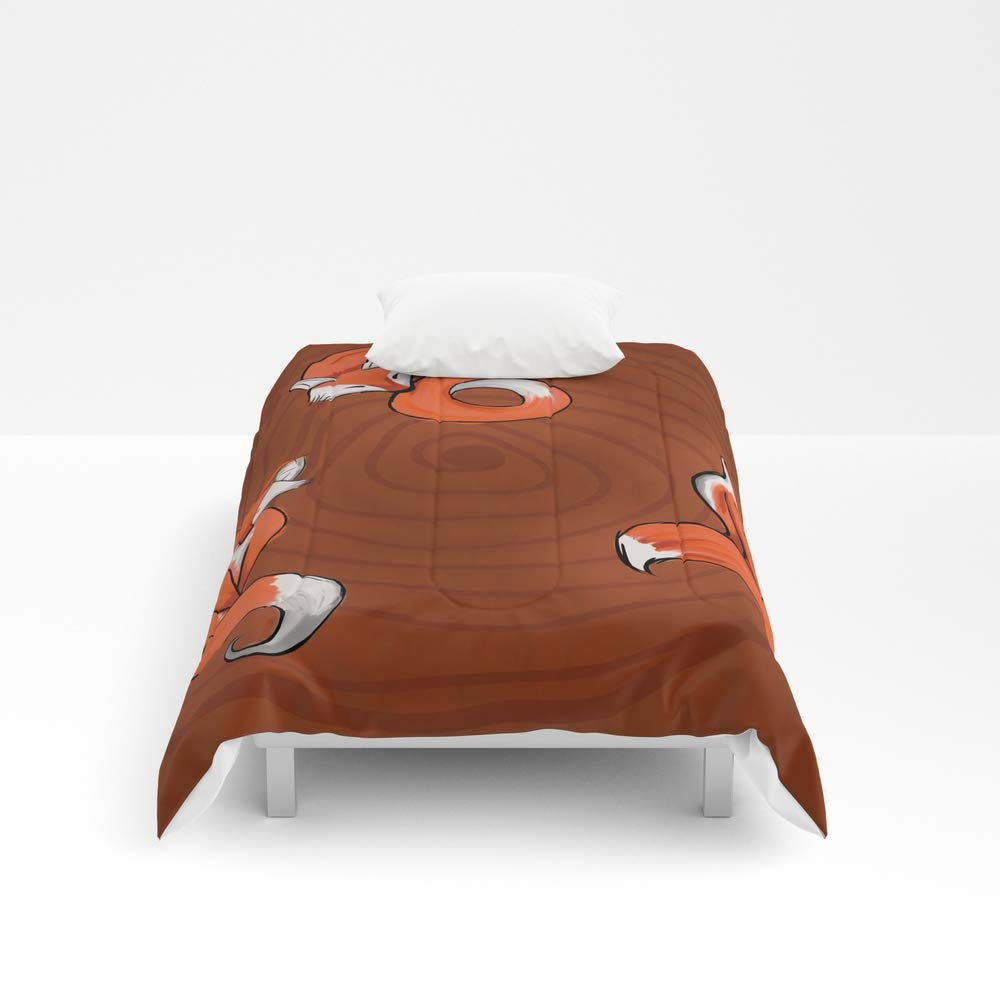Society6 Comforter, Size Twin XL: 68'' x 92'', Three Foxes in The Wood by amb_Creation