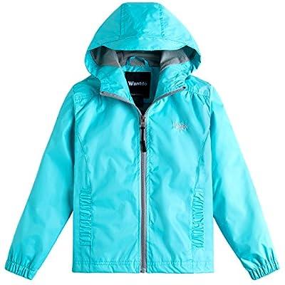 Wantdo Girl's Windproof Lightweight Rain Jacket Hooded Raincoat Windbreaker for Camping Traveling