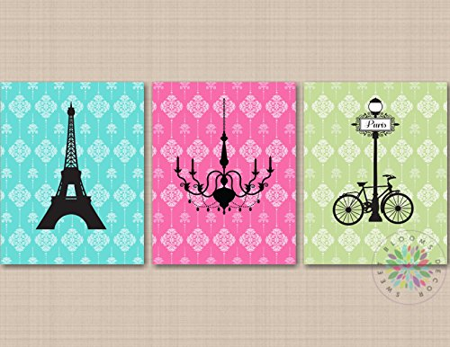 - Paris Wall Art Paris Girl Room Decor Eiffel Tower Chandelier Wall Art Paris Bedroom Decor Poodle Girl Bedroom Pink Green Teal UNFRAMED 3 PRINTS(NOT CANVAS) C626