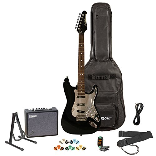 Sawtooth ST-ES-BKC-KIT-3 Black Electric Guitar with Chrome Pickguard - Includes Accessories, Amp, Gig Bag and Online Lesson (Amp Chrome Black)
